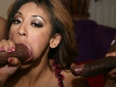 Menage A. Roz enjoys a couple of hard cocks in her