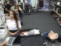 Attractive and brunette latina stewardess sells a luggage gets fucked