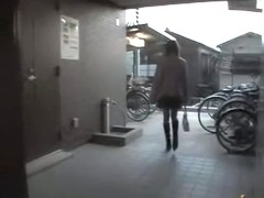 Girl on the bike gets out of her panty
