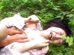Japanese chick gets cumon boobs outdoor