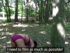 Blonde and brunnette eat shaved pussy in public woods