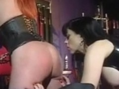 Large scones redhead and her headmistress into a S&M session