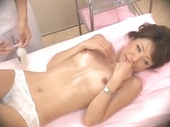 Perfect Jap oiled and rubbed in voyeur massage video