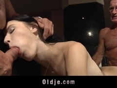 Lucianna takes two old dicks one oral one vaginal