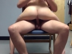 Skinny chick rides man-friend on the chair