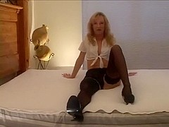 Superb golden-haired wife in dark nylons and 2 dark stud-horses