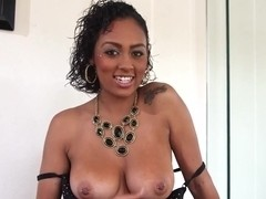 Busty black deepthroatin and ballsucking