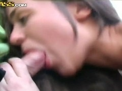 "Couple of guys ""picked up"" Frisky Cat and get fucked her right on street"