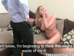 Stunning blonde gets bus fare home for fake casting fuck