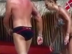 SPY Incredible Couple Brunette nude topless beach part4