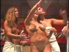 Bitches takes off soaked clothing