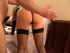 mrs snd gets a good spanking in pvc and fishnets