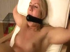 Non-Professional Golden-Haired wife bound up and drilled with dildos