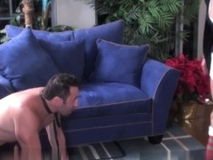 Ballbusting santa's helper gets her frisk on