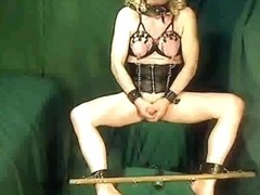 goodgurl34 with ass bullet, nipples chained to wrists,spreader bar made to masterbate