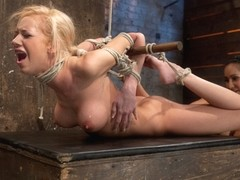 Bound On Screen In An Amazingly Tough Hogtie.  Finger Fucked, Made To Cum, Skull-Fucked  Tormented.