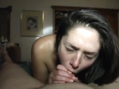 Blue eyes girl gives a great sloppy blowjob