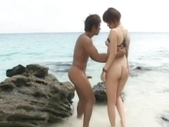 Wild Rino Kamiya on the beach getting banged
