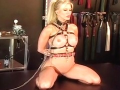 Leather And Chains Strap Down Blonde Hottie