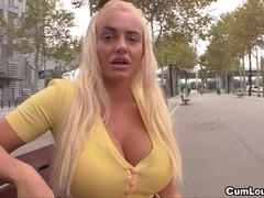 Concupiscent and breasty Jordan Pryce craves a large dick betwixt her outstanding large pantoons
