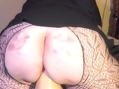 amateur BBW humping a big butternut squash on a pillow