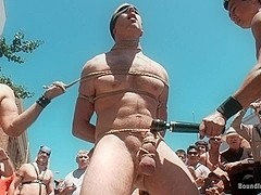 Bound in Public. Cody Allen Naked Tied up Zippered Humiliated in Public