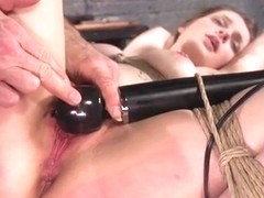 Brunette tied up throat banged training