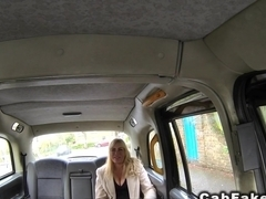 Huge tits blonde in pantyhose bangs in cab
