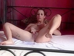 Cutie masturbates, fucks and gets facial