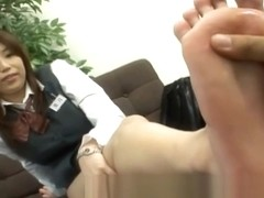 Foot fetish - Bank female worker big feet