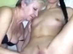 Sexy young Girl and chubby old Granma have sex with toy