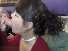 Angel Stone deepthroating and swallowing cum