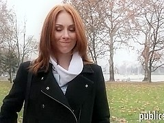 Redhead Czech babe gets fucked for money