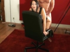 Ravishing Her Tight Ass On A Spinning PC Chair