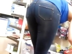 Woman in tight jeans pants nice ass