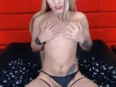 Blonde Shemale Slutty Beauty playing with her cock