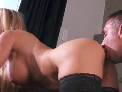 Perfect blonde milf Amber Lynn with great body surprises lucky Keiran Lee