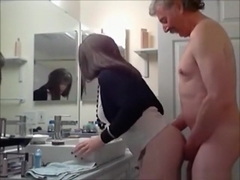 The boss has sex with a shemale in his bathroom