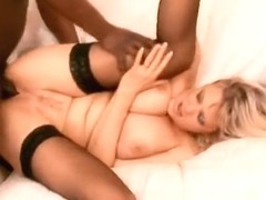 Blonde mom in stockings Starr takes a big black shaft up her tight ass