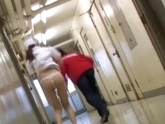 Nurse got under sharking in the empty corridor