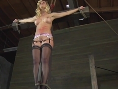 Tied up blonde slut gets humiliated by a BDSM master