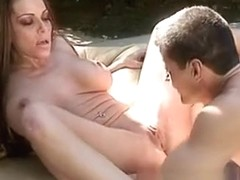 Stacked mom Victoria passionately blows and fucks a long dick outside