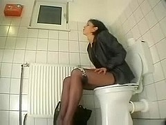 My friend visiting us masturbates in toilet. Hidden cam