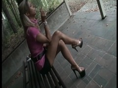 TAMIA PLATFORM HIGH HEELS SMOKING AND CRUSHES A CIGARETTE