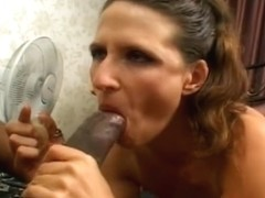 Darksome boy-friend licks strumpets feet and receives BJ