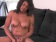 Brown Bone in Brown Bone's Creamy Load - Black-TGirls