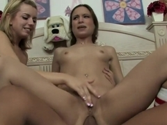 Blonde and brunette college cuties share a hard dick and a big cumload