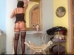 Gorgeous brunette in awesome nylons gets fucked good