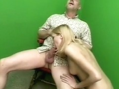 Skinny blonde with glasses gives head and gets her tiny twat nailed