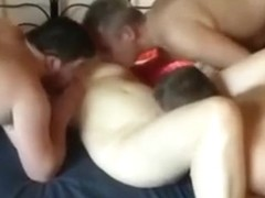 Blindfold spouse with 4 cocks